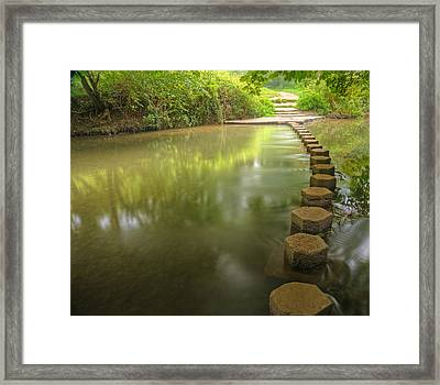 Beautiful Forest Scene Of Enchanted Stream Flowing Through Lush  Framed Print by Matthew Gibson