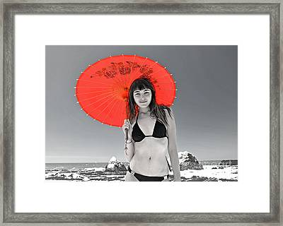 Beautiful Freckle Faced Model  At The Beach Altered Version Framed Print by Jim Fitzpatrick