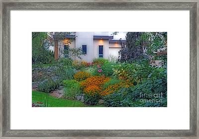 Beautiful Garden At Twilight Framed Print