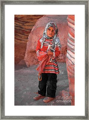 Beautiful Girl At Petra Jordan Framed Print