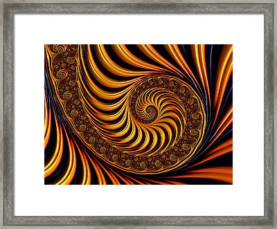 Beautiful Golden Fractal Spiral Artwork  Framed Print by Matthias Hauser