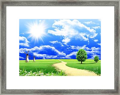 Beautiful Green Field Framed Print by Boon Mee