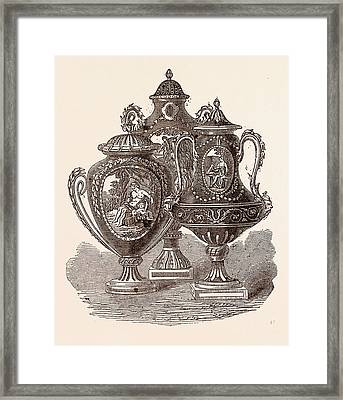 Beautiful Group Of Sevres Vases Framed Print