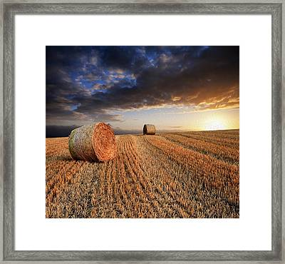 Beautiful Hay Bales Sunset Landscape Digital Painting Framed Print by Matthew Gibson
