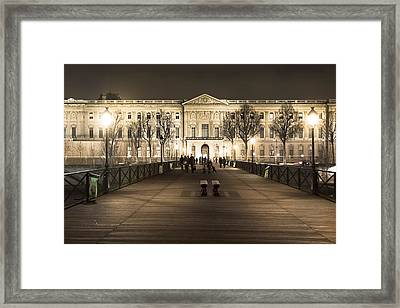 Beautiful Louvre Museum Viewed From The Pont Des Arts At Night Framed Print by Mark E Tisdale