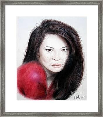 Beautiful Lucy Liu Framed Print by Jim Fitzpatrick
