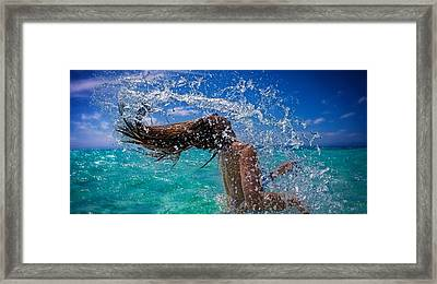 Beautiful Model Splashing Framed Print by JM Photography