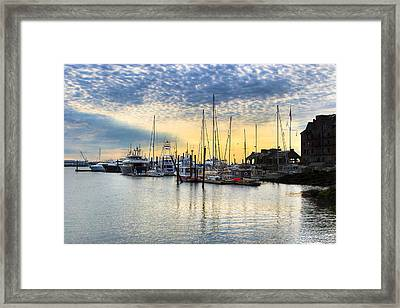 Beautiful Morning On Boston Waterfront Framed Print by Mark E Tisdale