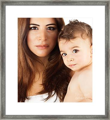 Beautiful Mother Holding Baby Boy Framed Print by Anna Om