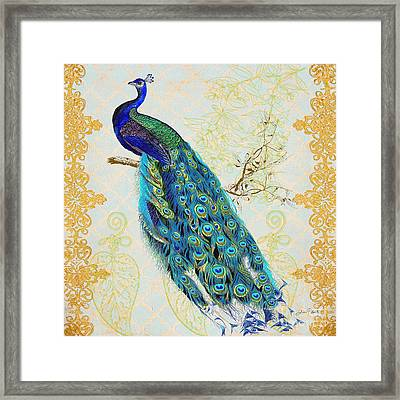 Beautiful Peacock-b Framed Print by Jean Plout