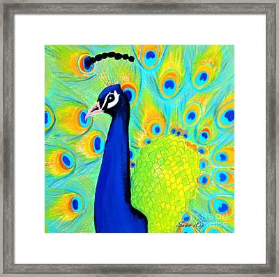 Beautiful Peacock Card Framed Print