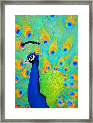 Framed Print featuring the painting Beautiful Peacock  by Oksana Semenchenko