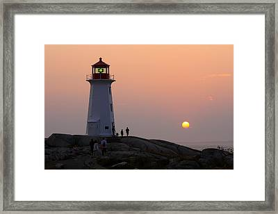 Beautiful Peggy's Cove Lighthouse Sunset Framed Print