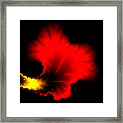 Beautiful Red And Yellow Floral Fractal Artwork Square Format Framed Print by Matthias Hauser