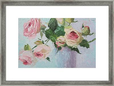 Beautiful Roses Oil Palette Knife Painting Framed Print