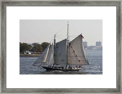 Beautiful Sailboat In Manhattan Harbor Framed Print by John Telfer