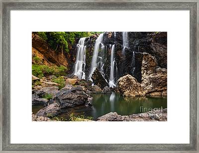 Beautiful Sathodi Falls In India Framed Print by Vishwanath Bhat