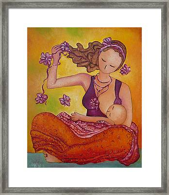 Beautiful Sitting Mama Breastfeeding Framed Print by Gioia Albano