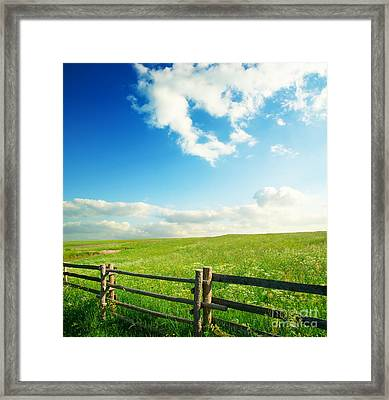 Beautiful Sky On Greens Landscape Framed Print by Boon Mee