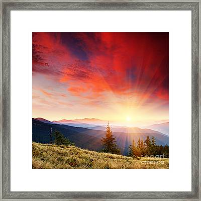 Beautiful Summer Landscape In Mountains Framed Print by Boon Mee