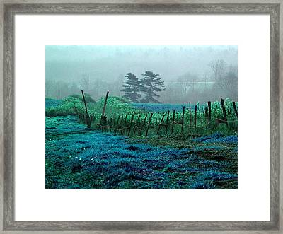 Beautiful Blue Grass Hill - Colorized Photograph Framed Print