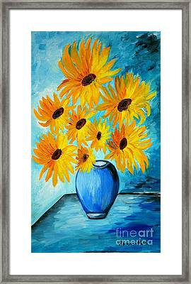 Beautiful Sunflowers In Blue Vase Framed Print