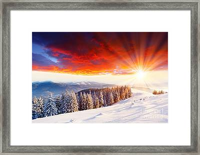 Beautiful Sunset In The Winter Framed Print by Boon Mee