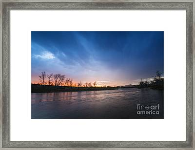 Beautiful Sunset Over Boise River In Boise Idaho Framed Print by Vishwanath Bhat