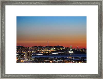 Beautiful Sunset Over The New Bay Bridge And San Francisco Framed Print