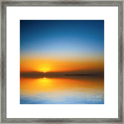 Beautiful Sunset Over Water Framed Print