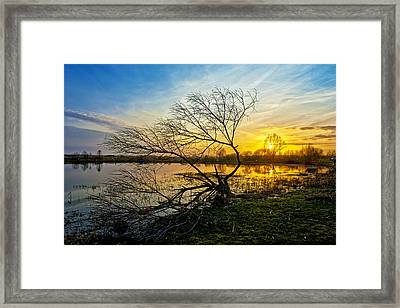 Beautiful Sunset Reflecting In A Lake Framed Print by Jaroslaw Grudzinski