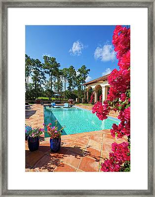 Beautiful Swimming Pool With Lounge Framed Print by Terryj