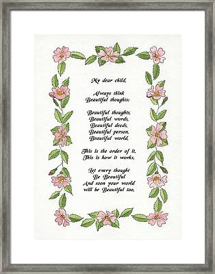 Beautiful Thoughts Framed Print by Olive Denyer