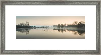 Beautiful Tranquil Mist Over Lake Sunrise Landscape Framed Print by Matthew Gibson