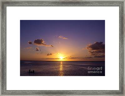 Beautiful Tropical Island Sunset On The Beach In Guam Framed Print