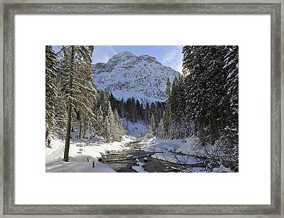 Beautiful Valley In Winter - Snowy Trees River And Mountains Framed Print