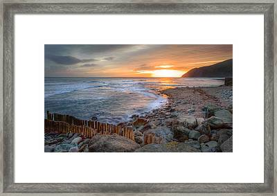 Beautiful Vibrant Sunrise Over Low Tide Beach Landscape Framed Print by Matthew Gibson