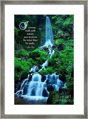 Beautiful Waterfalls Through A Walk With Nature Framed Print by Beverly Claire Kaiya