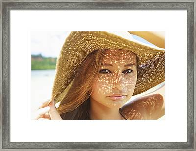 Beautiful Woman At The Beach Framed Print by Kicka Witte