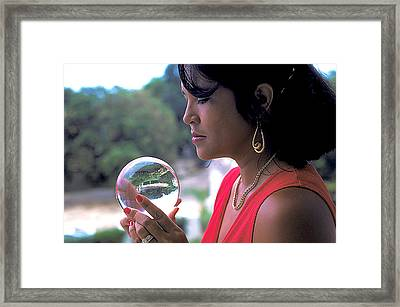Beautiful Woman Gazes Into Crystal Ball Framed Print by Carl Purcell