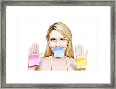 Beautiful Woman Holding Blank Message Sticky Paper Framed Print