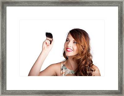 Beautiful Woman Holding Paintbrush Over White Framed Print by Jorgo Photography - Wall Art Gallery