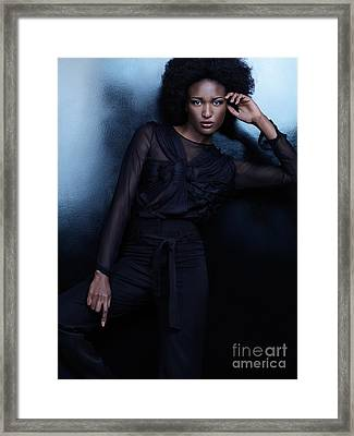 Beautiful Woman In Black Clothes High Fashion Photo Framed Print by Oleksiy Maksymenko