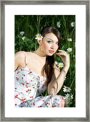Beautiful Woman In Daisies Framed Print by Diana Jo Marmont
