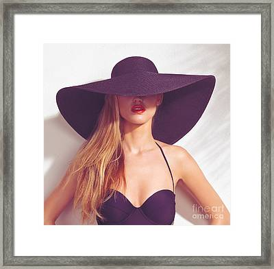 Beautiful Woman In Sunhat And Swimsuit Framed Print