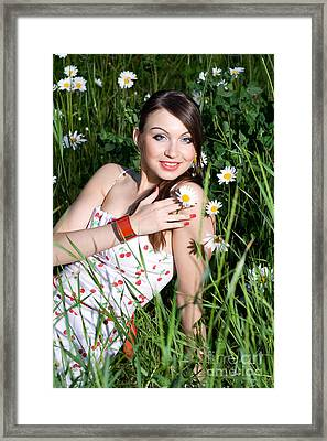 Beautiful Woman Sitting In Tall Grass And Daisies Framed Print by Diana Jo Marmont
