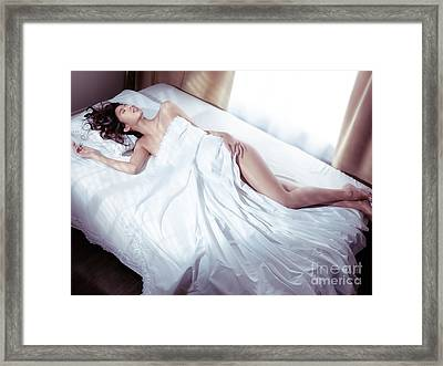 Beautiful Woman Sleeping Naked In Bed Covered With White Sheets  Framed Print by Oleksiy Maksymenko