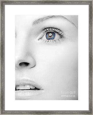 Beautiful Woman's Black And White Face With Blue Eye Framed Print by Oleksiy Maksymenko
