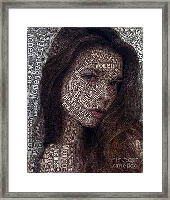 Beautiful Women Typography Design Framed Print by Boon Mee