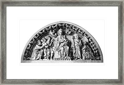 Beautiful Woodblock Print Of Jesus And Mary Framed Print